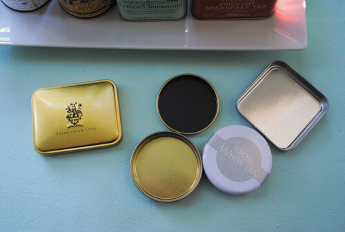 Lids from tea tins