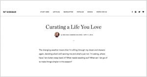 Curating a Life You Love, at No Sidebar
